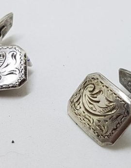 Sterling Silver Ornate Vintage Rectangular Cufflinks