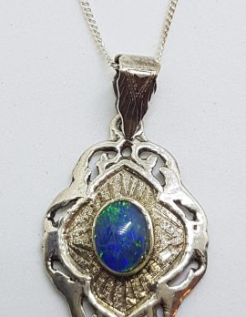 Sterling Silver Blue Opal Ornate Pendant on Silver Chain