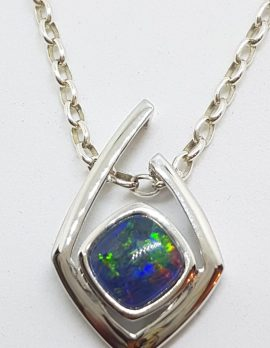 Sterling Silver Blue Opal Angular Pendant on Silver Chain