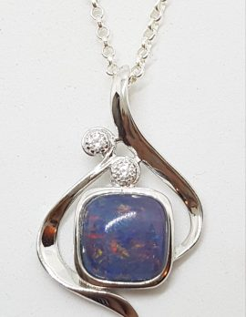 Sterling Silver Blue Opal & Cubic Zirconia Ornate Pendant on Silver Chain
