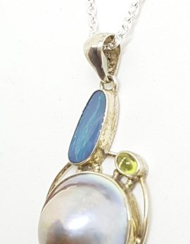 Sterling Silver Blue Opal, Peridot & Mabe Pearl Pendant on Silver Chain