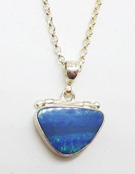 Sterling Silver Blue Opal Triangular Hinged Pendant on Silver Chain