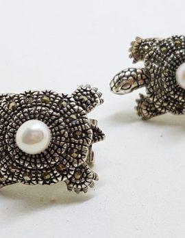 Sterling Silver Marcasite & Pearl Large Turtle Stud Earrings