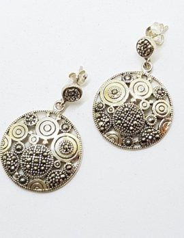 Sterling Silver Marcasite Large Round Drop Earrings