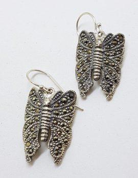 Sterling Silver Marcasite Large Butterfly Drop Earrings