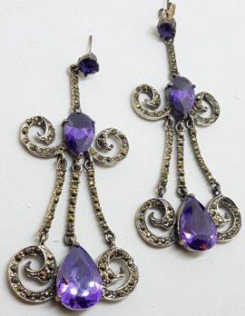 Sterling Silver Marcasite & Purple Cubic Zirconia Very Long Drop Earrings