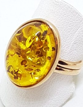 9ct Rose Gold Oval Amber Ring - Extendable
