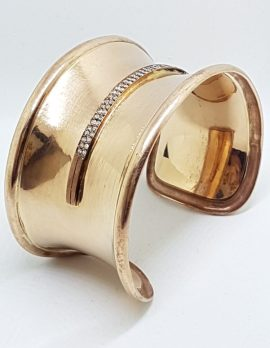9ct Rose Gold Handmade Very Wide Diamond Cuff Bangle