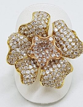 9ct Three Tone Gold - Rose, Yellow, White - Large Cubic Zirconia Flower Cocktail Ring