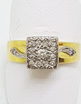 18ct Gold & Platinum Square Diamond Cluster Ring