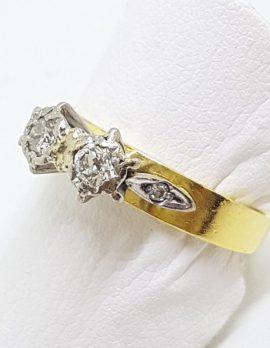 18ct Yellow Gold Toi et Moi 2 Diamond High Set Ring