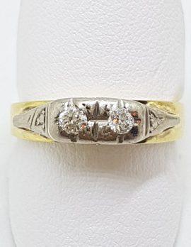 18ct Yellow Gold Toi et Moi 2 Diamond Ring