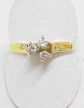 18ct Yellow Gold High Set Diamond Cluster Ring
