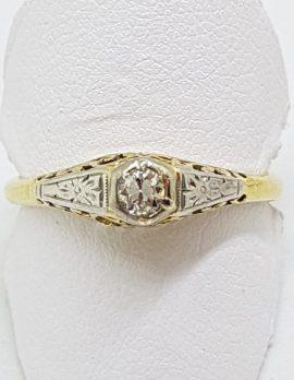 18ct Yellow Gold Ornate Filigree Diamond Engagement Ring