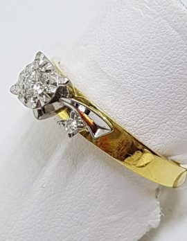 18ct Yellow Gold Ornate High Set Diamond Engagement Ring
