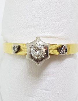 18ct Yellow Gold & Platinum High Set Diamond Engagement Ring