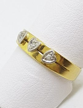 18ct Yellow Gold & Platinum Heart Design 3 Diamond Wedding Ring