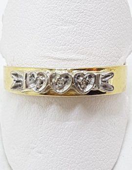 18ct Yellow Gold & Platinum Diamond Heart Design Eternity/Wedding Band Ring