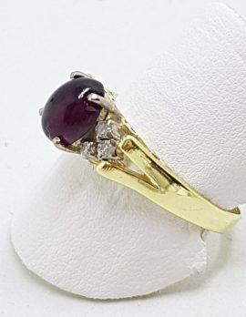 9ct Yellow Gold Oval Cabochon Garnet with Diamond Ring