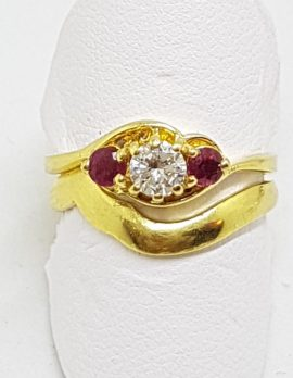 18ct Yellow Gold Natural Ruby & Diamond Engagement and Wedding Ring