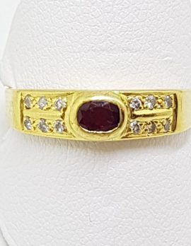18ct Yellow Gold Natural Ruby & Cubic Zirconia Ring