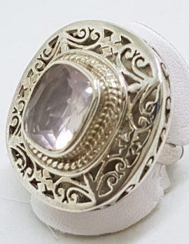 Sterling Silver Large Ornate / Filigree Rose Quartz Ring