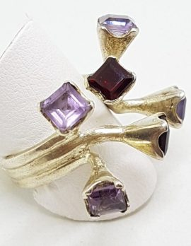 Sterling Silver Large Unusual Spikey Amethyst and Garnet Cluster Ring