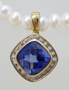 9ct Gold Square Created Sapphire surrounded by Diamonds Enhancer Pendant on Pearl Necklace