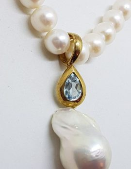 9ct Yellow Gold Long Handmade Topaz & Baroque Pearl Enhancer Pendant on Pearl Chain