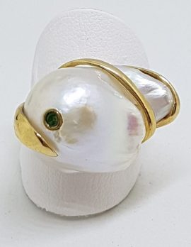 14ct Yellow Gold Large Baroque Pearl with Emerald Ring – Handmade
