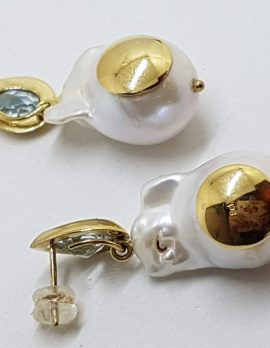 14ct Yellow Gold Large Baroque Pearl & Topaz Drop Earrings – Handmade