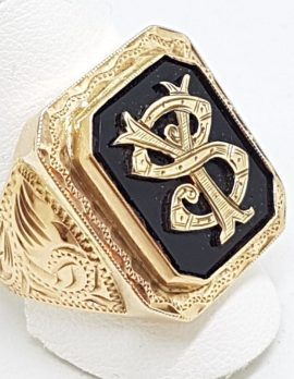 9ct Rose Gold Large Ornate Monogrammed Onyx Ring