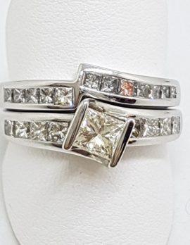 14ct White Gold Diamond Engagement & Wedding Ring Set
