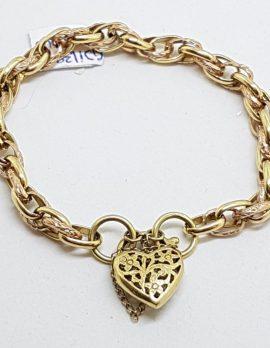 9ct Yellow, White & Rose Gold Three Tone Ornate Heart Padlock Bracelet