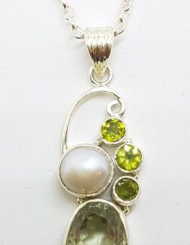 Sterling Silver Green Amethyst, Peridot and Pearl Ornate Pendant/chain