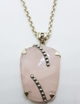 Sterling Silver Rose Quartz Large Pendant on Stg. Silver Chain