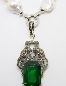 Sterling Silver Large Marcasite Green Cartier Inspired Cat / Panther Enhancer Pendant on Long Baroque Pearl Necklace/Chain