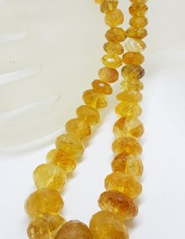 Sterling Silver Clasped Very Chunky Faceted Natural Citrine Bead Necklace / Chain