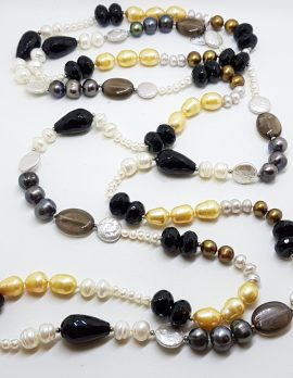 Very Long Multi-Colour Pearl & Onyx Bead Necklace / Chain