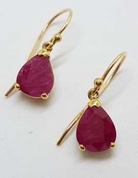 9ct Gold Natural Ruby Drop Earrings - Teardrop