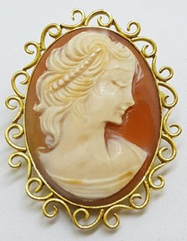 14ct Yellow Gold Oval Ornate Cameo Lady Head Brooch/Pendant