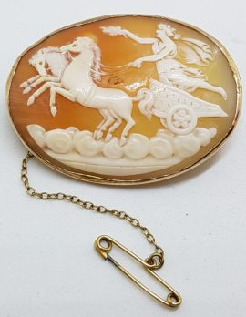 9ct Yellow Gold Large Oval Ornate Chariot Cameo Brooch - Goddess Nike