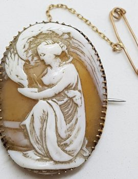 9ct Yellow Gold Large Oval Ornate Greek Mythology Hebe Scenery Cameo Brooch