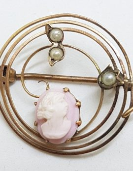 9ct Yellow Gold Round Pink Cameo & Seedpearl Brooch