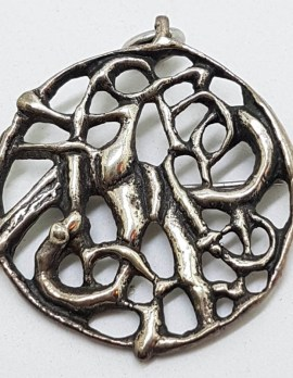Sterling Silver Large Viking Style Twist Round Brooch