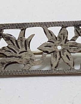 Sterling Silver Ornate Cut Out Flowers Bar Brooch
