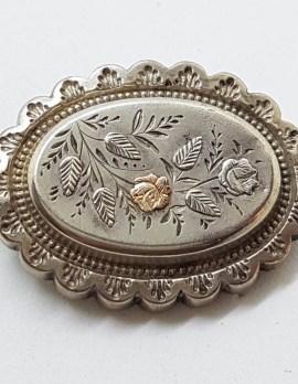 Sterling Silver & Gold Ornate Oval Antique Floral Brooch