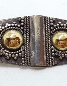 Sterling Silver & Gold Ornate Elongated Brooch