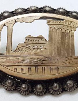 Sterling Silver & Gold Ornate Oval Greek Scenery Brooch