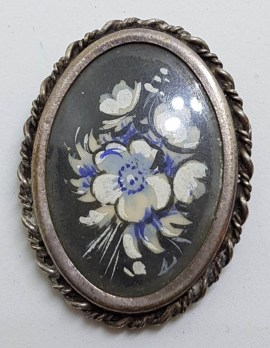 Sterling Silver Painted Floral Oval Brooch